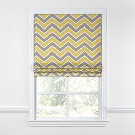 Gray & Yellow Chevron Roman Shade