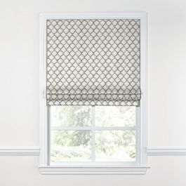 Gray Block Print Roman Shade
