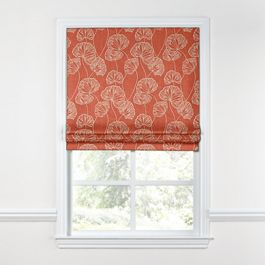 Coral Red Fan Leaf Roman Shade
