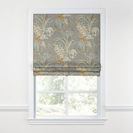 Intricate Gray Floral Roman Shade