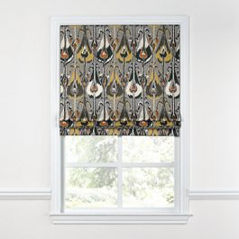 Gray & Orange Ikat Roman Shade