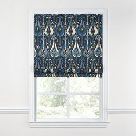 Navy Blue Ikat Roman Shade
