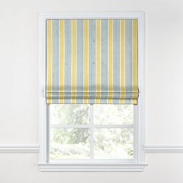 Teal & Yellow Stripe Roman Shade