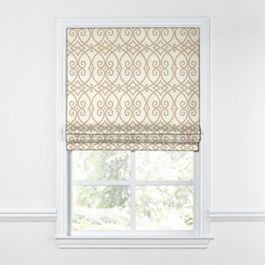 Tan Scroll Trellis Roman Shade