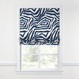 Blue Zebra Print Roman Shade