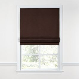 Chocolate Brown Velvet Roman Shade
