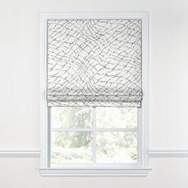 Gray & White Net Roman Shade