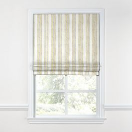 Embroidered Yellow Stripe Roman Shade