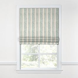 Embroidered Aqua Stripe Roman Shade