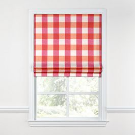 Pink & Orange Buffalo Check Roman Shade