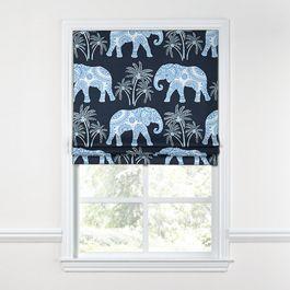 Navy Blue Elephant Roman Shade