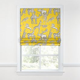 Yellow & Gray Zoo Animal Roman Shade