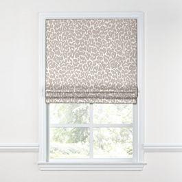 Gray & White Leopard Print Roman Shade