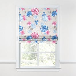 Blue & Pink Floral Roman Shade