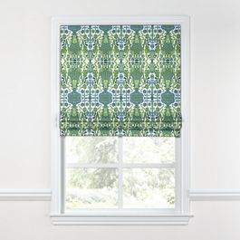 Green & Blue Ikat Roman Shade