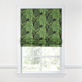 Green & Black Palm Leaf Roman Shade