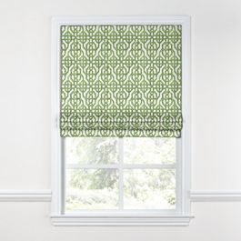 Green Watercolor Trellis Roman Shade
