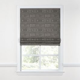 Charcoal Woven Tribal Roman Shade
