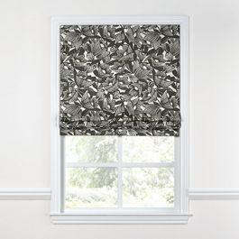 Modern Black & White Floral Roman Shade