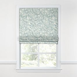 Modern Light Blue Floral Roman Shade