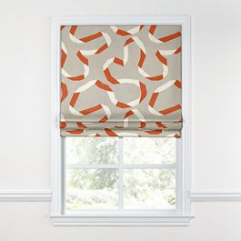 Orange Red Ribbon Roman Shade