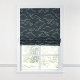 Navy Blue Cloud Roman Shade