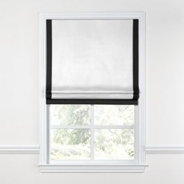 White Flat Roman Shade with Black Trim