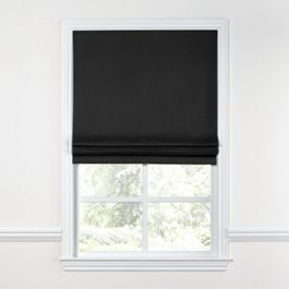 Carbon Black Linen Roman Shade
