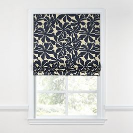 Navy Graphic Floral Roman Shade