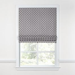 White & Gray Polka Dot Roman Shade