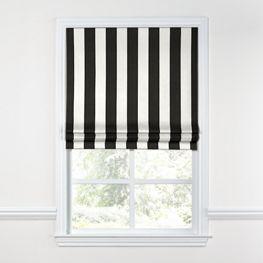 Black & White Awning Stripe Roman Shade