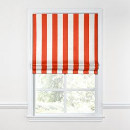Red Awning Stripe Roman Shade