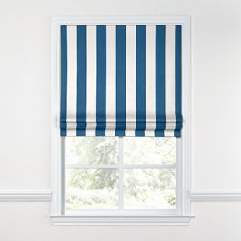 Royal Blue Awning Stripe Roman Shade