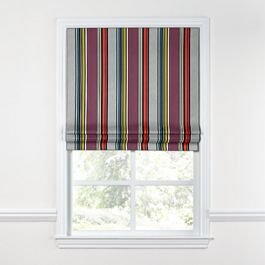 Purple Multicolor Striped Roman Shade