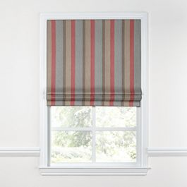 Red Blue Tan Stripe Roman Shade