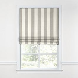 Gray Awning Stripe Roman Shade