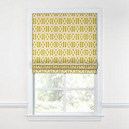 Bright Yellow Trellis Roman Shade