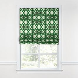 Emerald Green Trellis Roman Shade