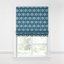 Bright Blue Trellis Roman Shade