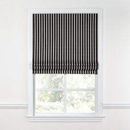 Black & White Thin Stripe  Roman Shade