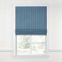 Bright Blue Thin Stripe Roman Shade