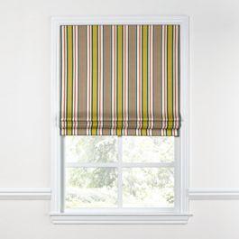 Yellow & Taupe Stripe Roman Shade