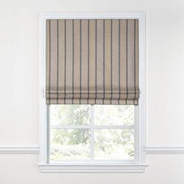 Tan & Gray Stripe Roman Shade