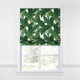 Green Banana Leaf Roman Shade