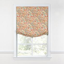 Multicolor Red Paisley Relaxed Roman Shade