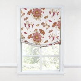 Sketched Pink Floral Relaxed Roman Shade