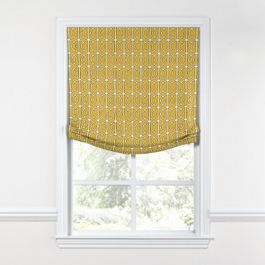 Modern Yellow Trellis Relaxed Roman Shade