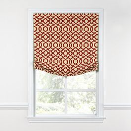 Flocked Tan & Red Trellis Relaxed Roman Shade