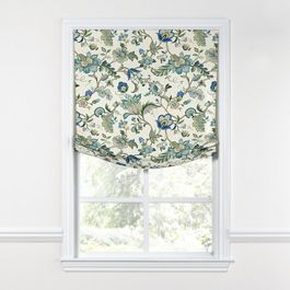 Jacobean Blue Floral Relaxed Roman Shade