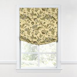 Jacobean Beige Floral Relaxed Roman Shade